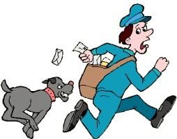 postbode met hond - Groot (Afbeelding)